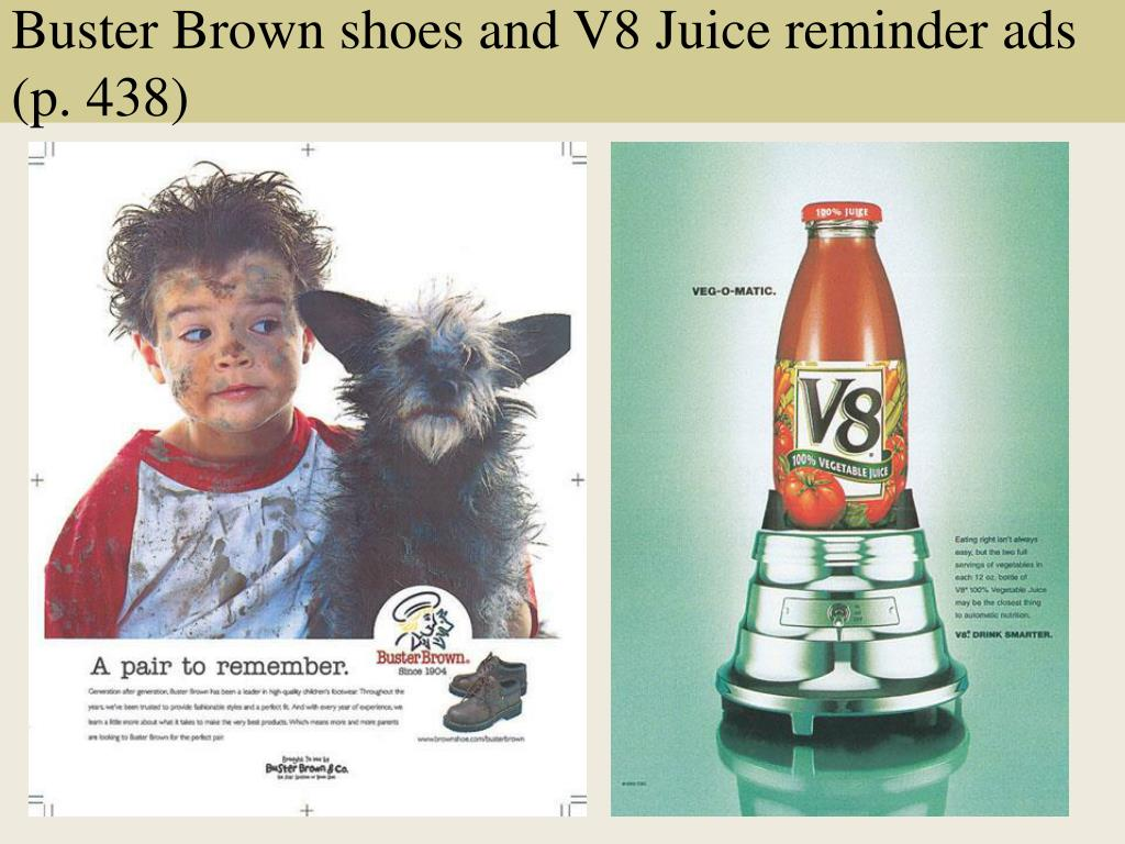 Buster Brown shoes and V8 Juice reminder ads (p. 438)