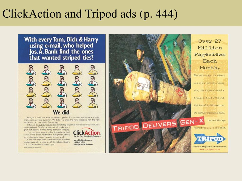 ClickAction and Tripod ads (p. 444)