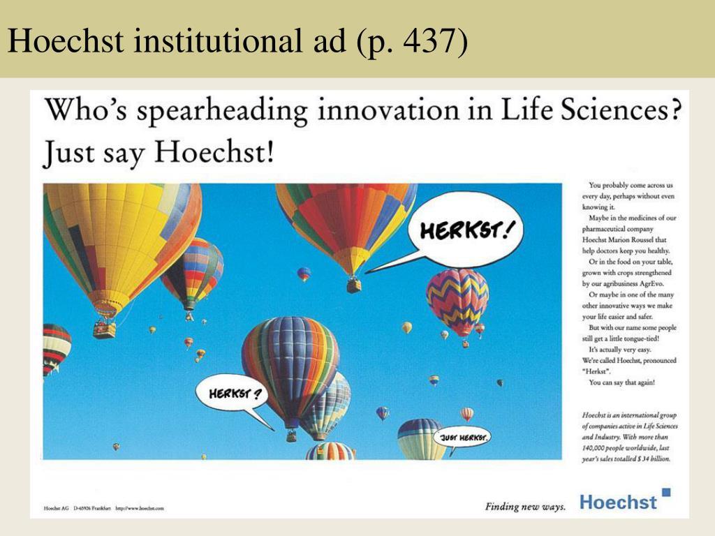 Hoechst institutional ad (p. 437)