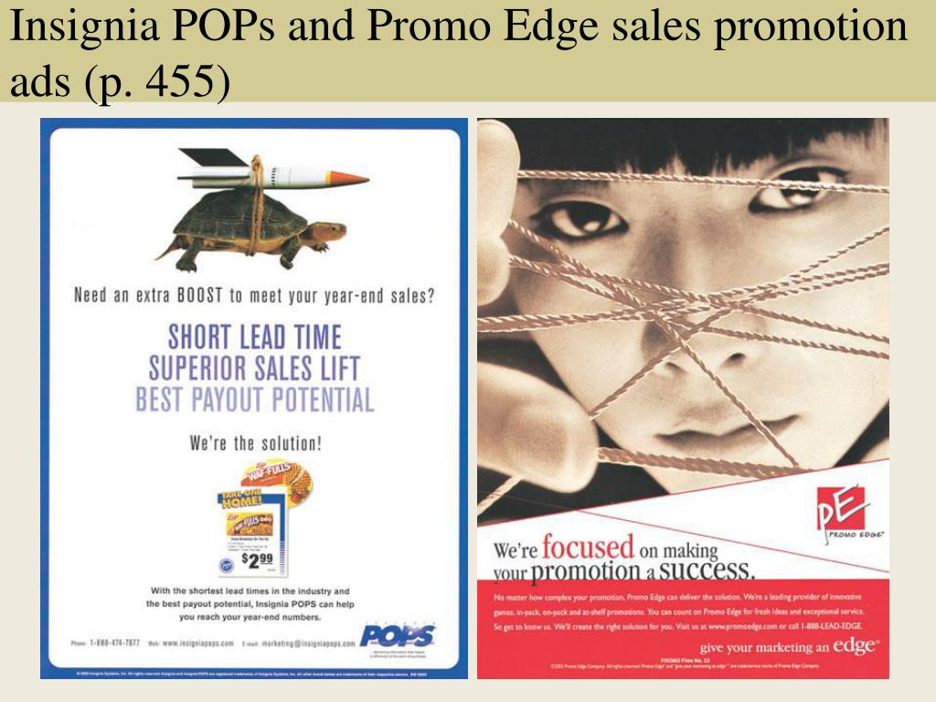 Insignia POPs and Promo Edge sales promotion ads (p. 455)