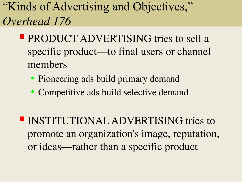 """Kinds of Advertising and Objectives,"""