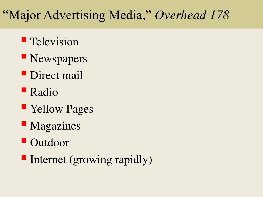 """""""Major Advertising Media,"""""""