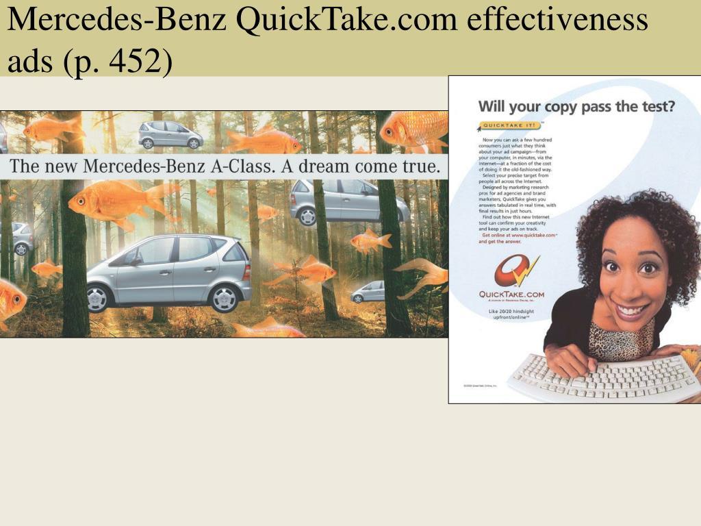 Mercedes-Benz QuickTake.com effectiveness ads (p. 452)