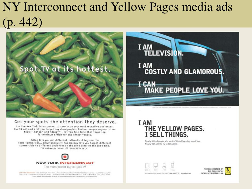 NY Interconnect and Yellow Pages media ads (p. 442)