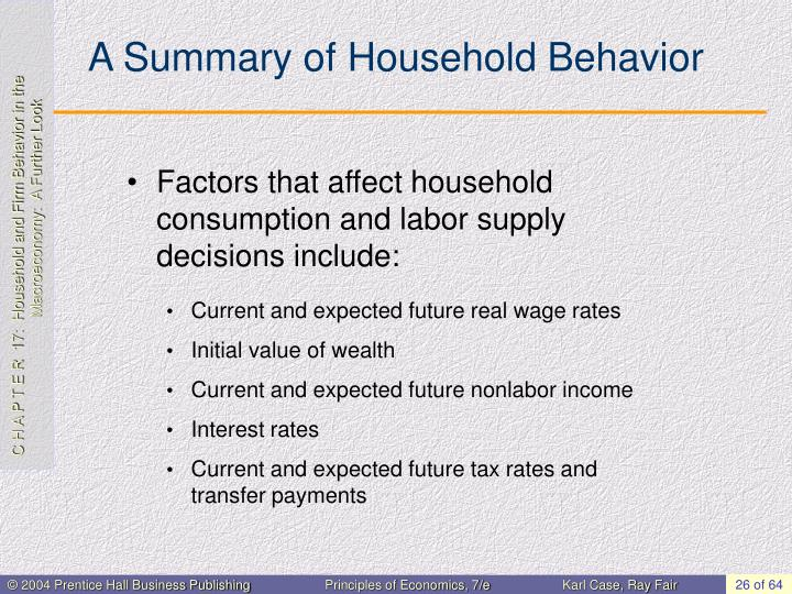 A Summary of Household Behavior