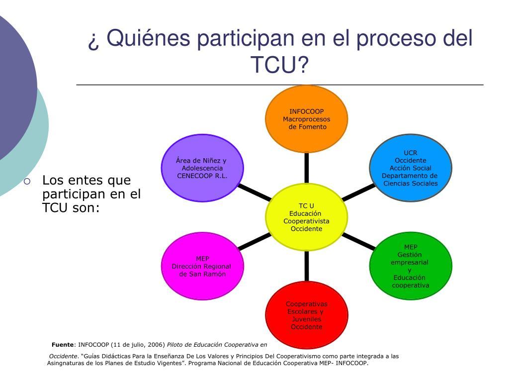 ¿ Quiénes participan en el proceso del TCU?