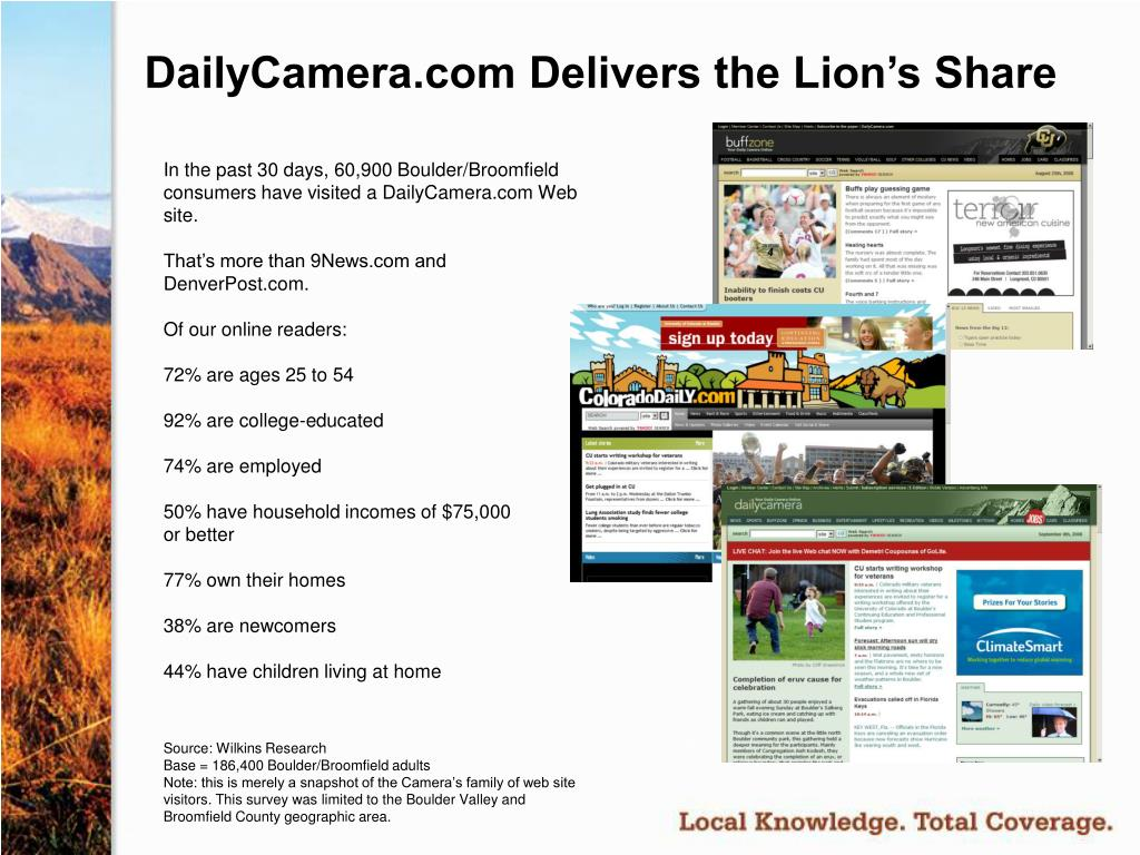 DailyCamera.com Delivers the Lion's Share