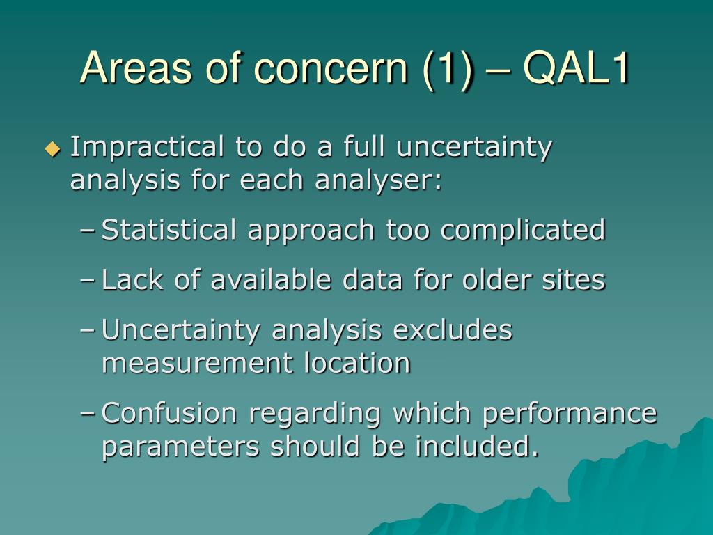 Areas of concern (1) – QAL1