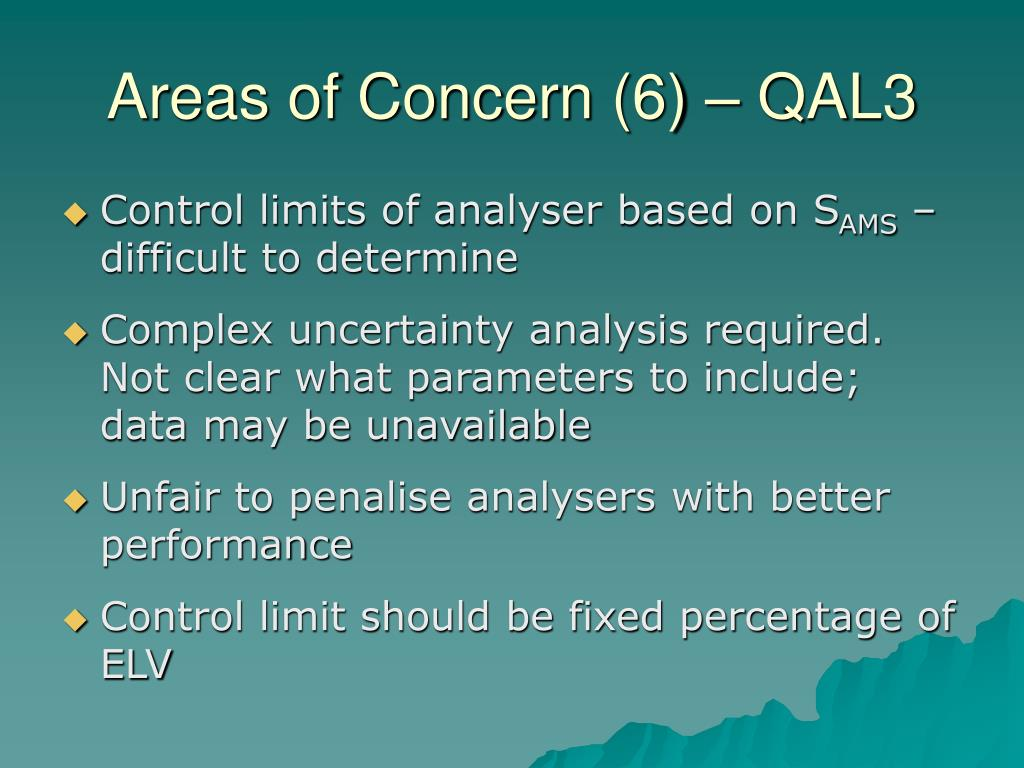 Areas of Concern (6) – QAL3