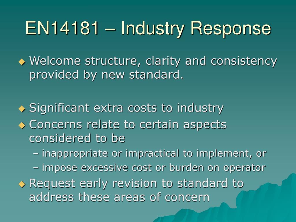 EN14181 – Industry Response