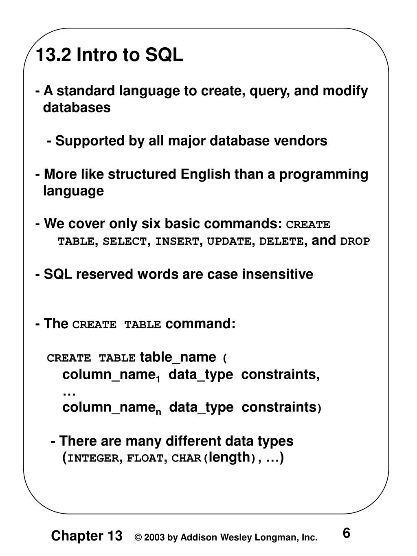 13.2 Intro to SQL