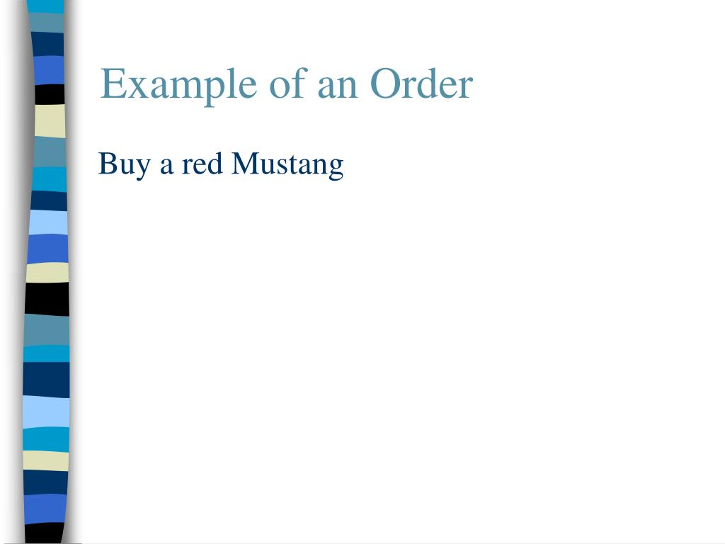 Example of an Order