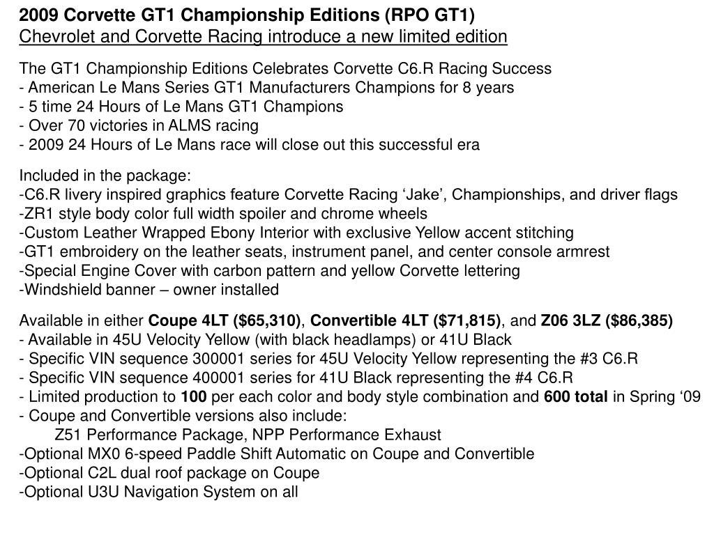 2009 Corvette GT1 Championship Editions (RPO GT1)
