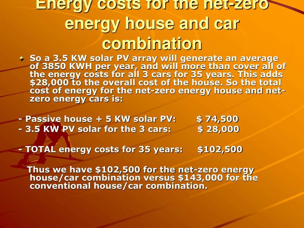 Energy costs for the net-zero energy house and car combination