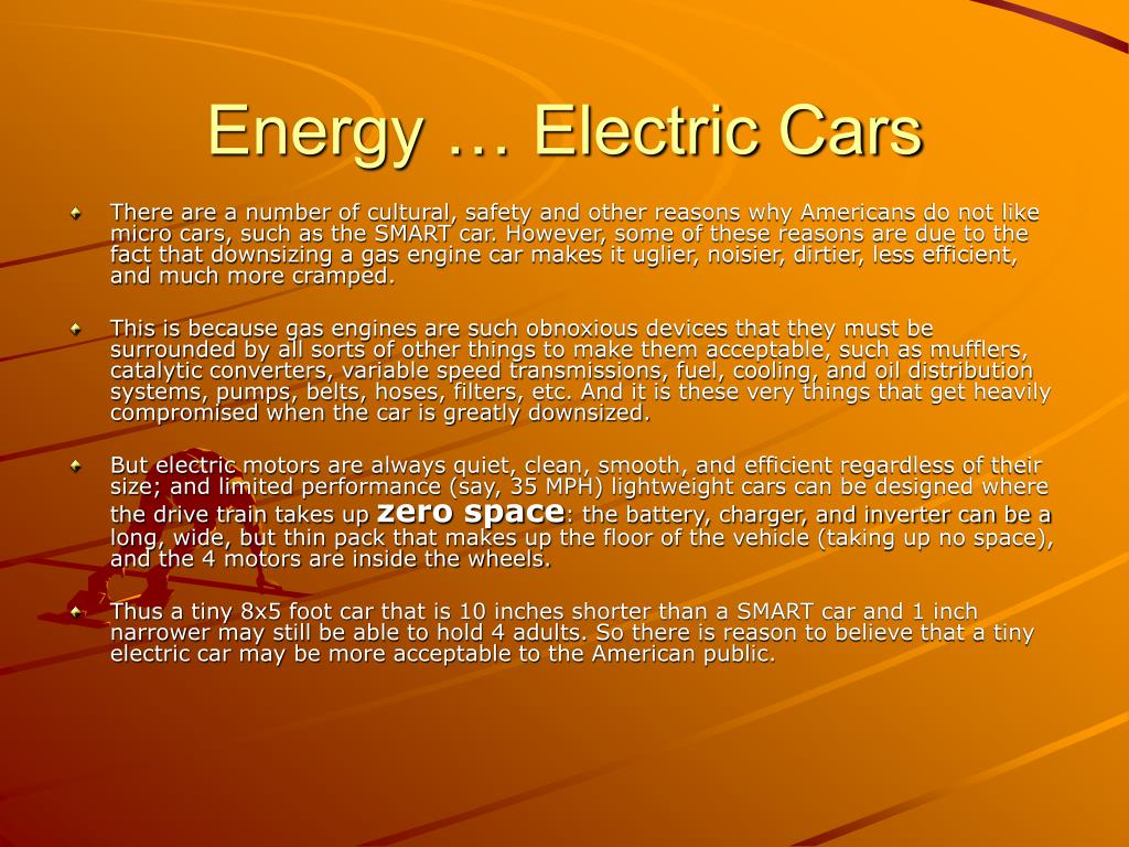Energy … Electric Cars