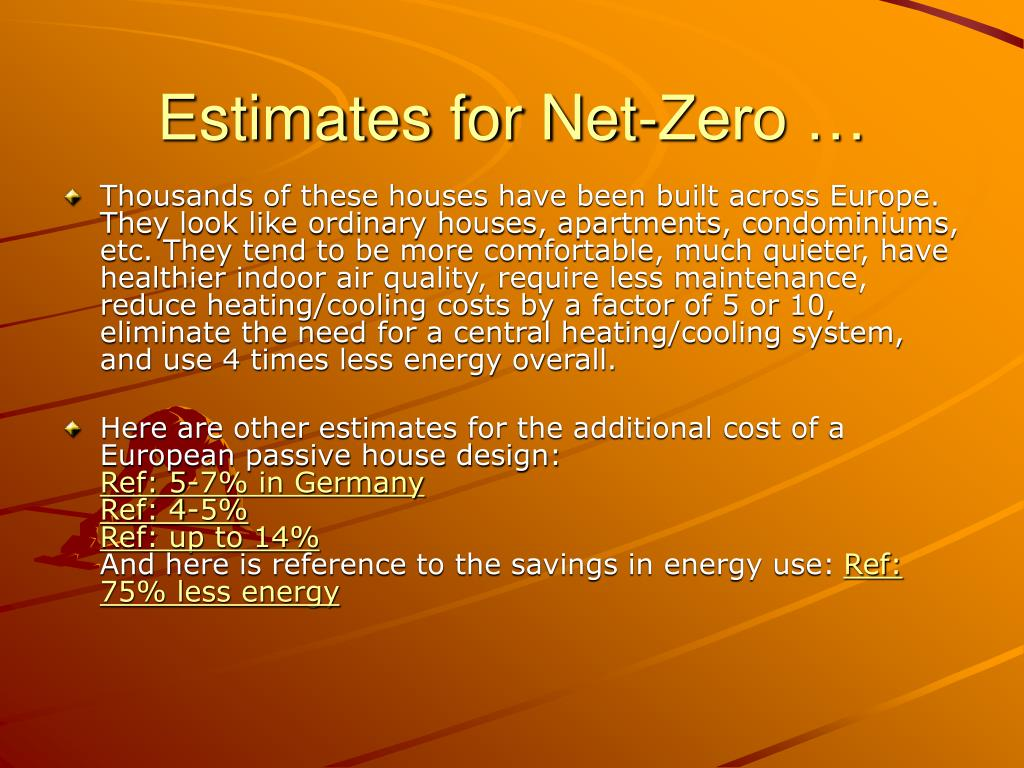 Estimates for Net-Zero …