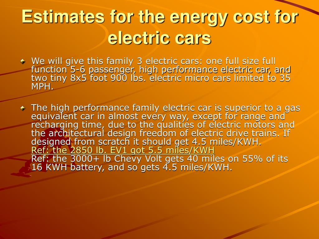 Estimates for the energy cost for electric cars