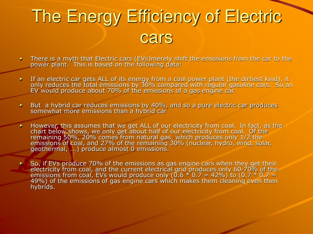 The Energy Efficiency of Electric cars