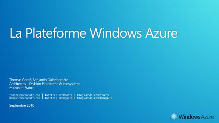 La plateforme windows azure