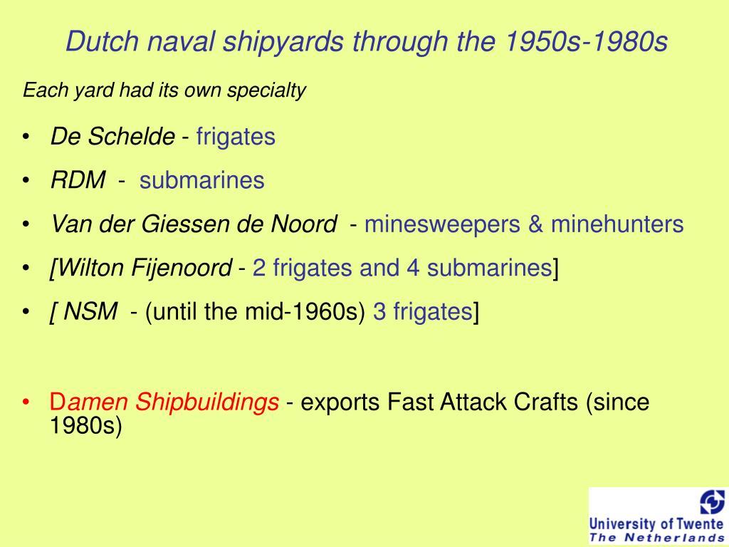 Dutch naval shipyards through the 1950s-1980s