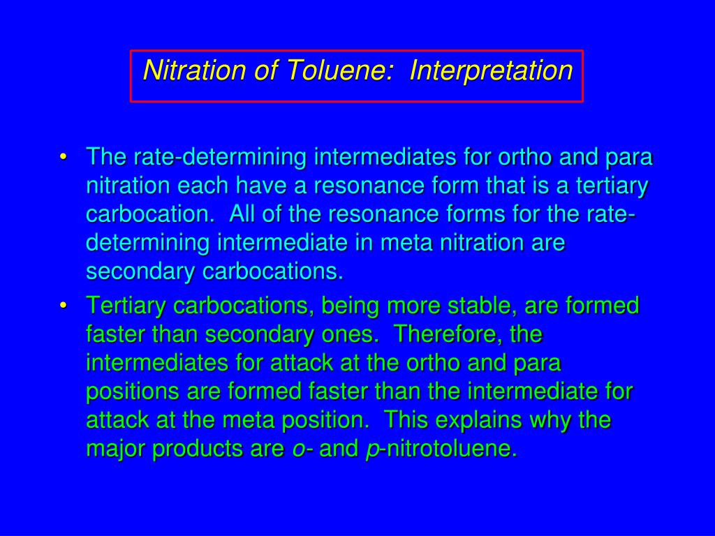 Nitration of Toluene:  Interpretation