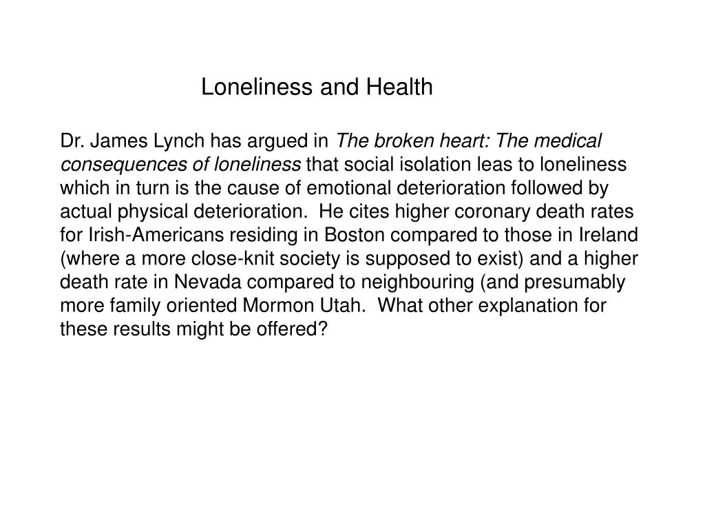 Loneliness and Health