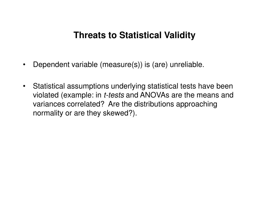 Threats to Statistical Validity
