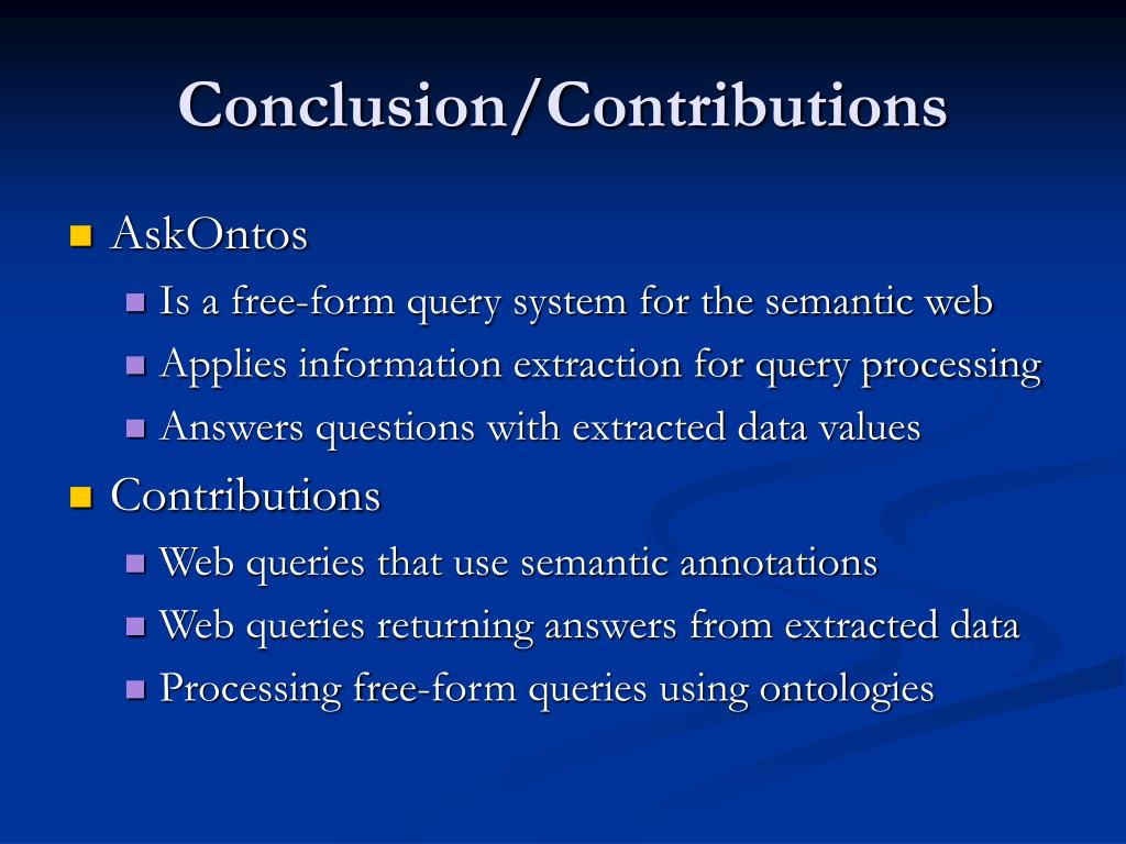 Conclusion/Contributions