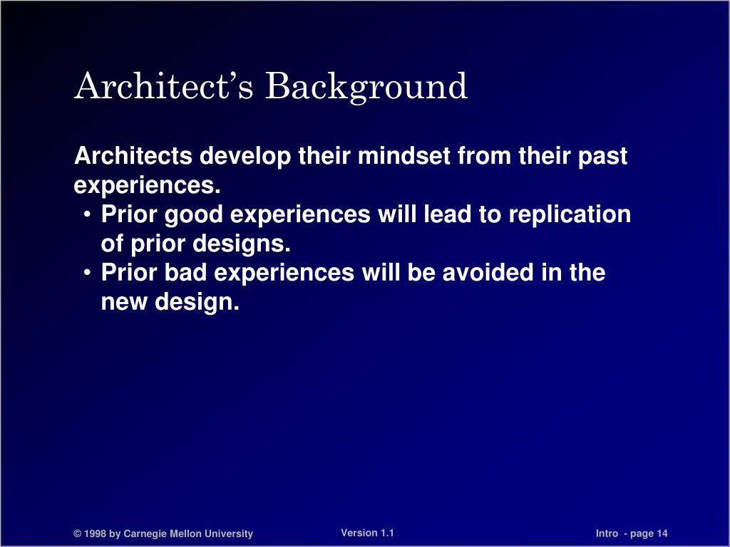 Architect's Background