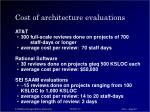 cost of architecture evaluations