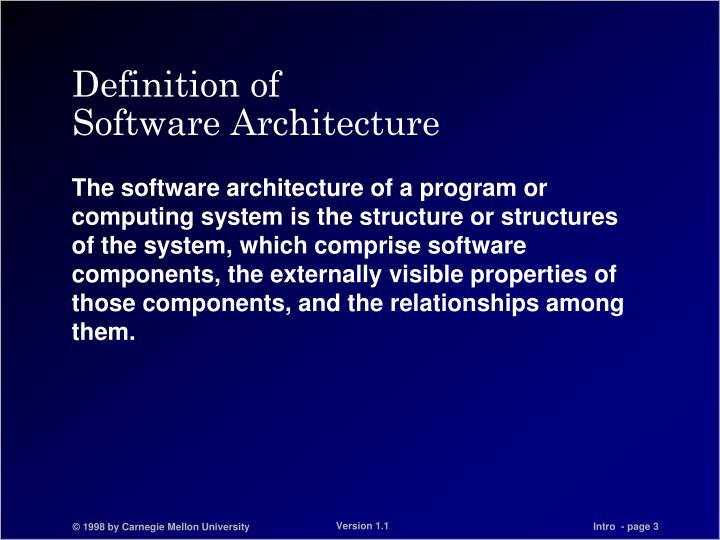 Definition of software architecture