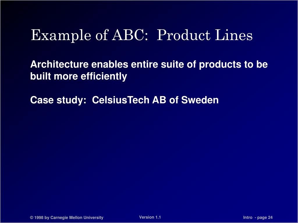 Example of ABC:  Product Lines