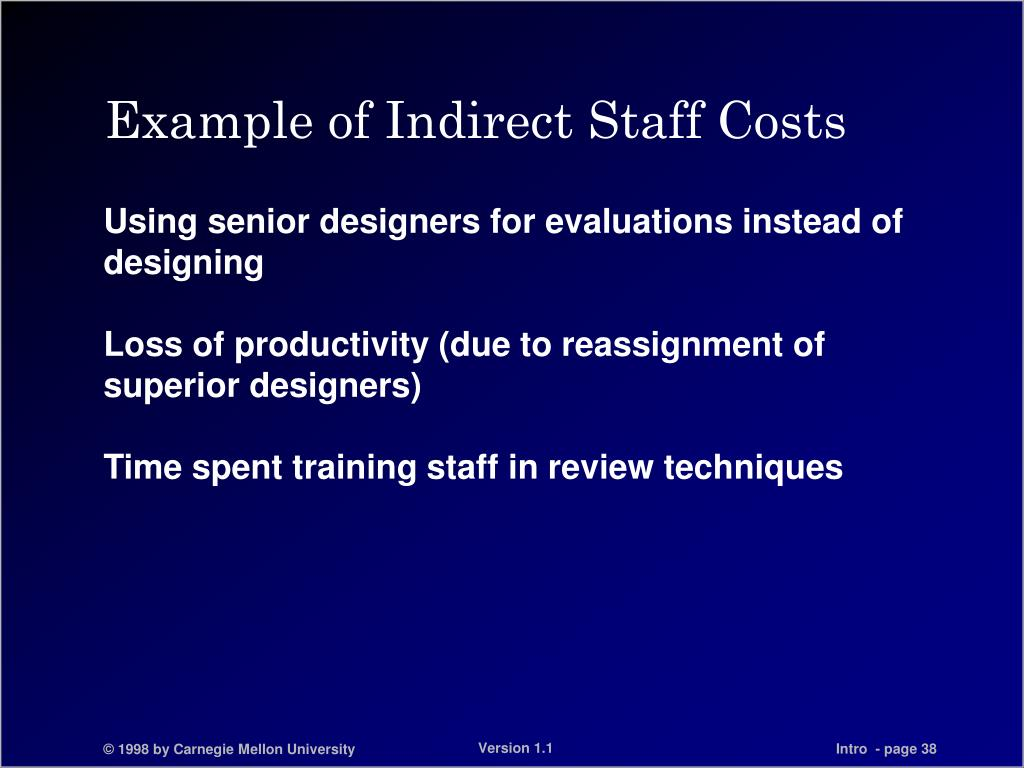 Example of Indirect Staff Costs