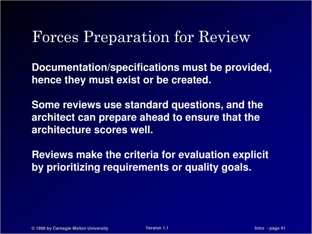 Forces Preparation for Review