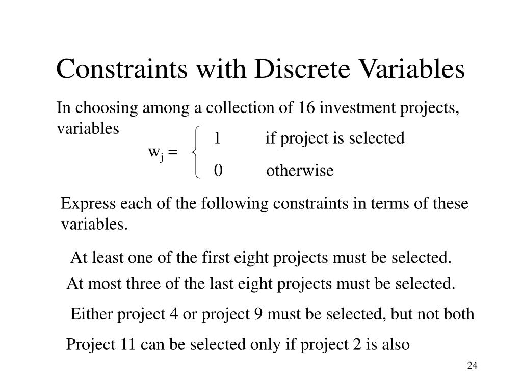 Constraints with Discrete Variables