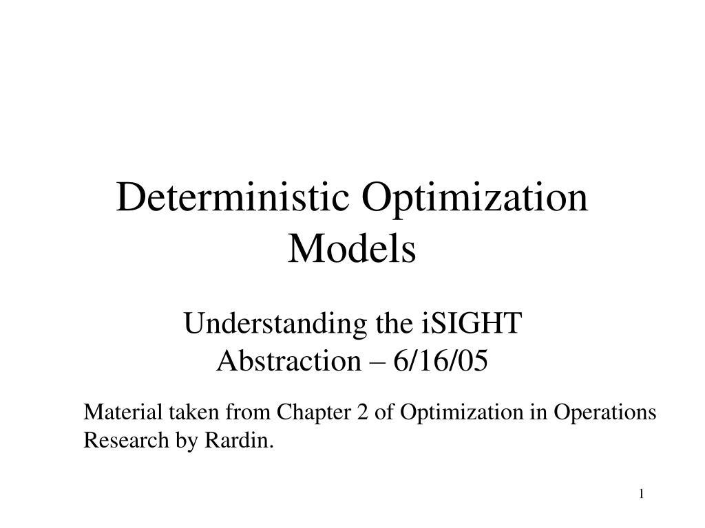 Deterministic Optimization Models
