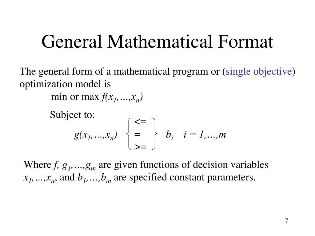 General Mathematical Format