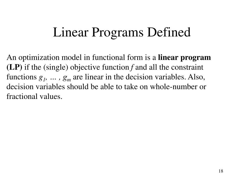 Linear Programs Defined