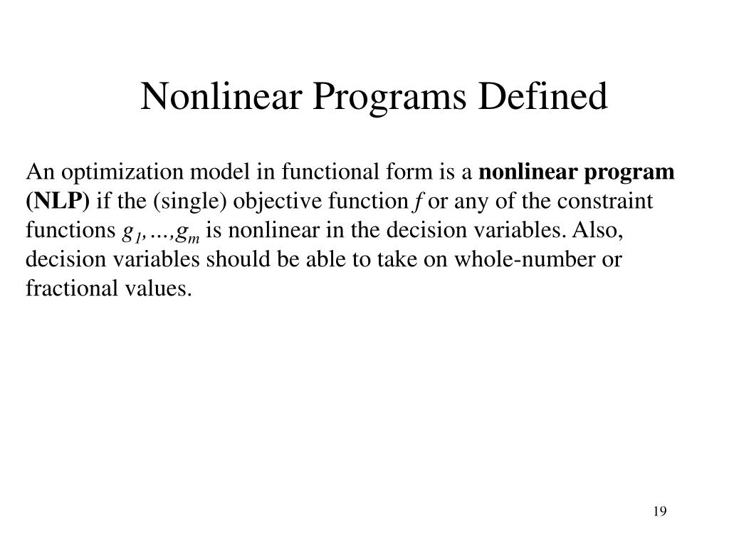 Nonlinear Programs Defined