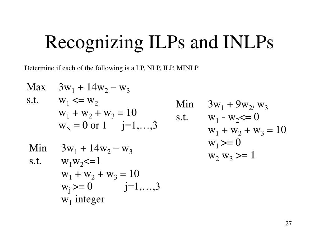Recognizing ILPs and INLPs