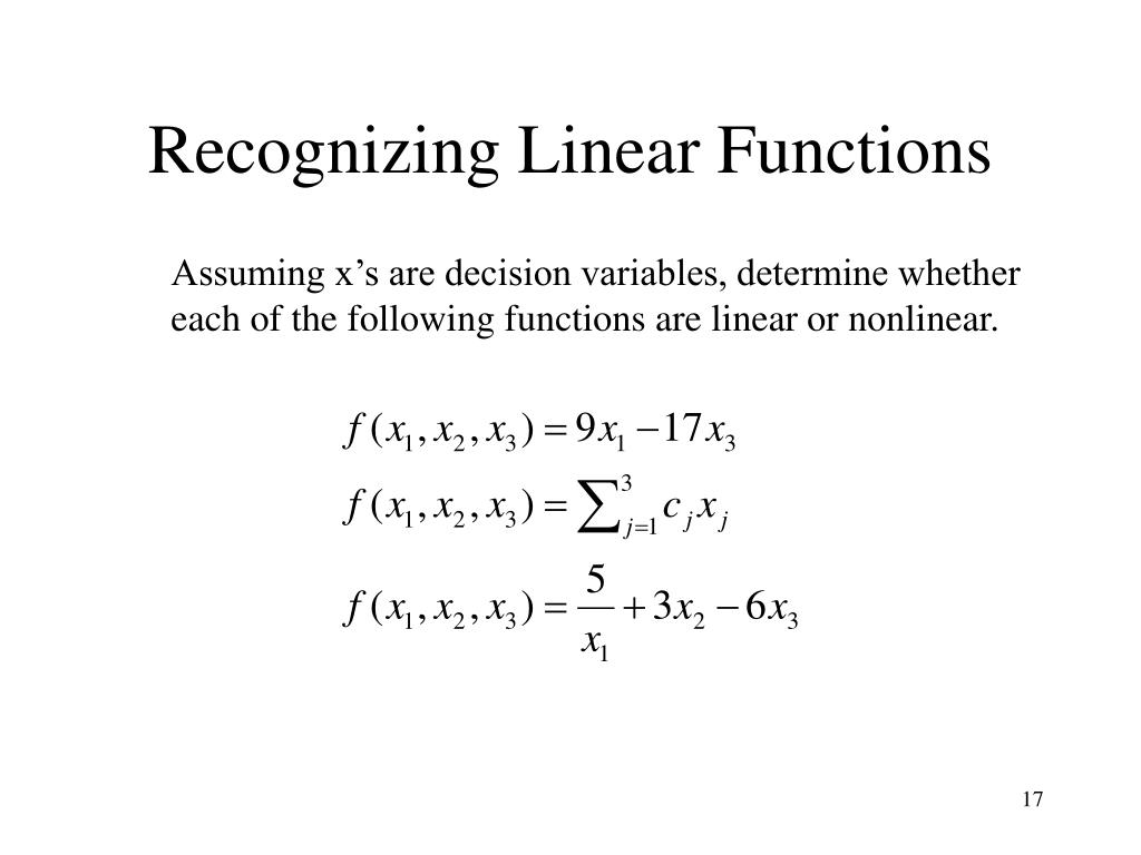 Recognizing Linear Functions