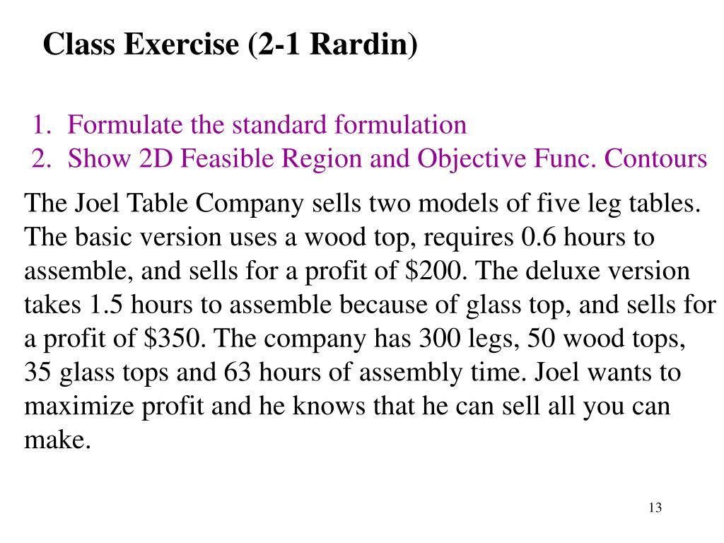 Class Exercise (2-1 Rardin)