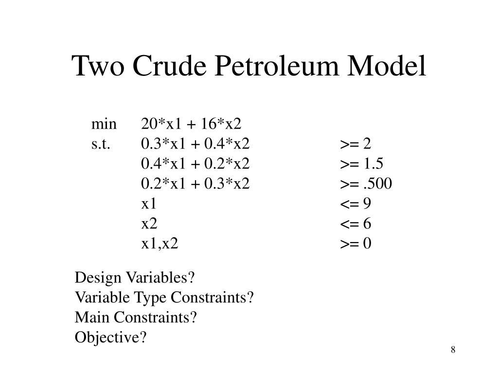 Two Crude Petroleum Model