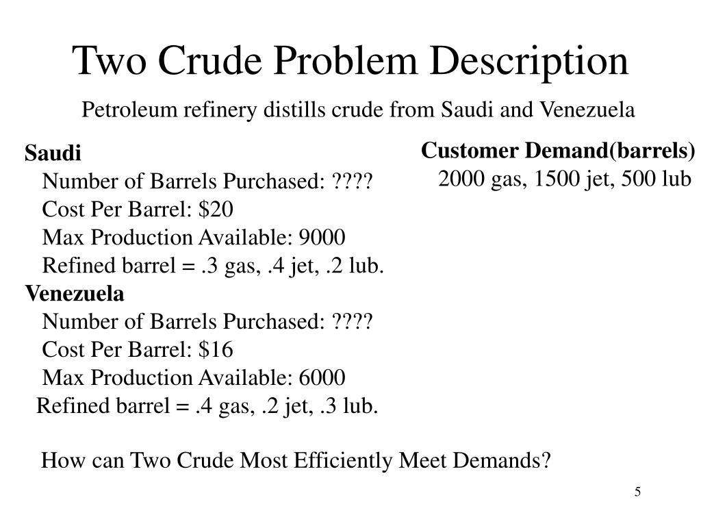 Two Crude Problem Description