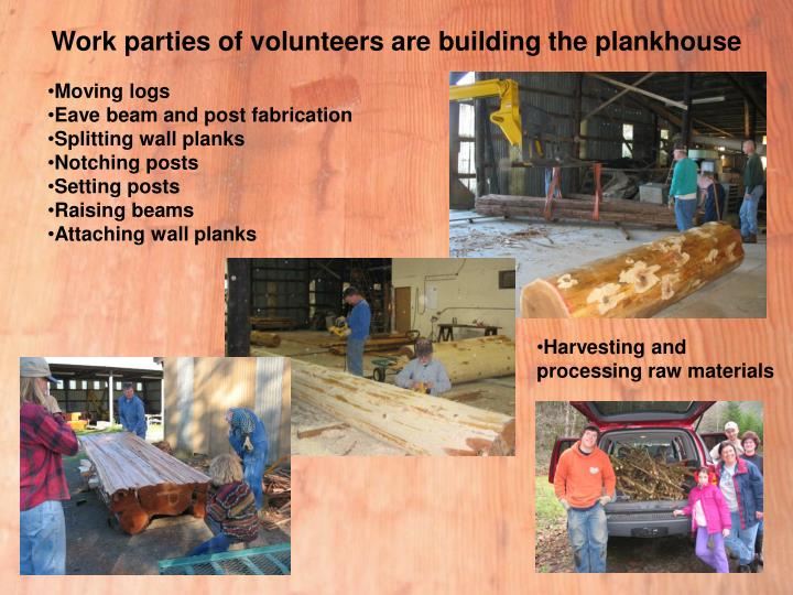Work parties of volunteers are building the plankhouse