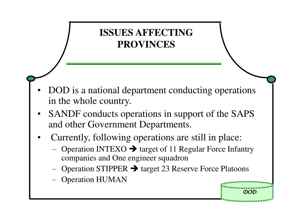 ISSUES AFFECTING PROVINCES