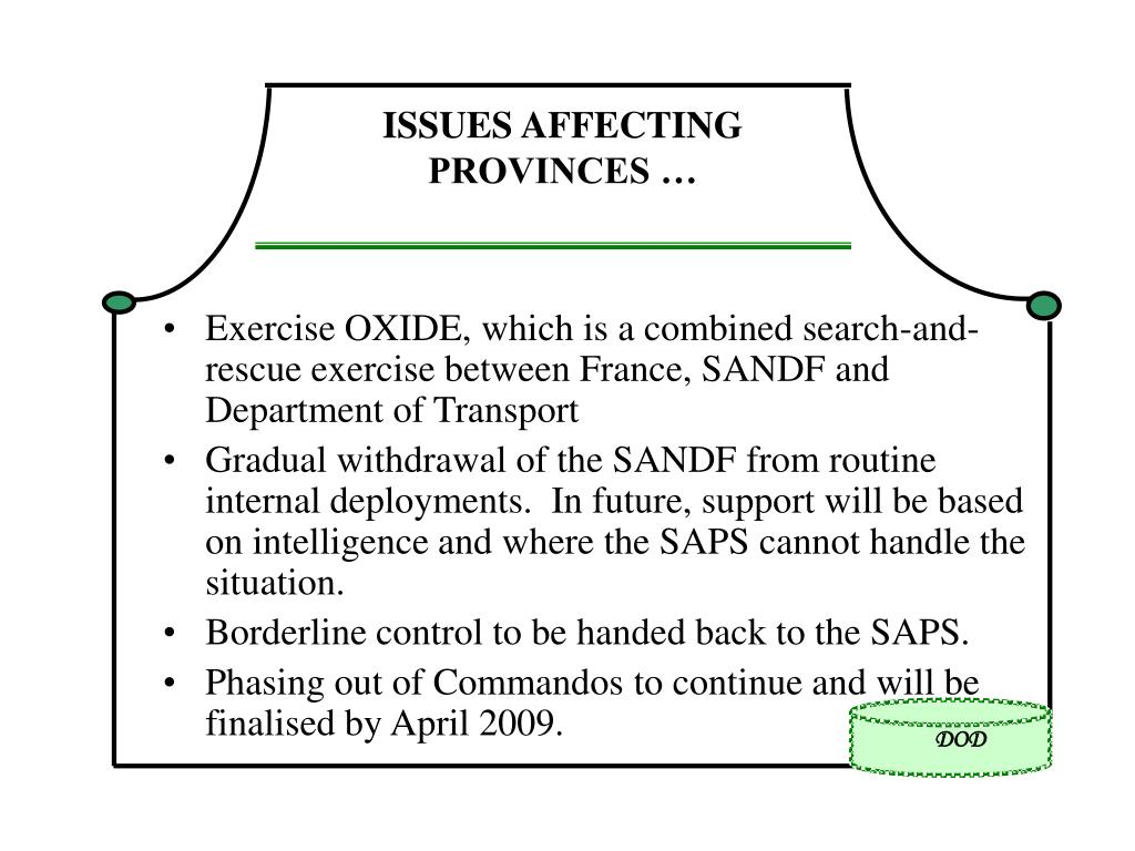 ISSUES AFFECTING PROVINCES …