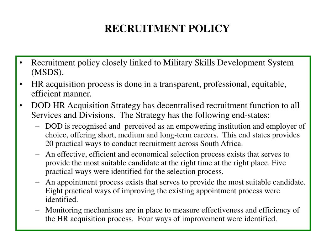 RECRUITMENT POLICY