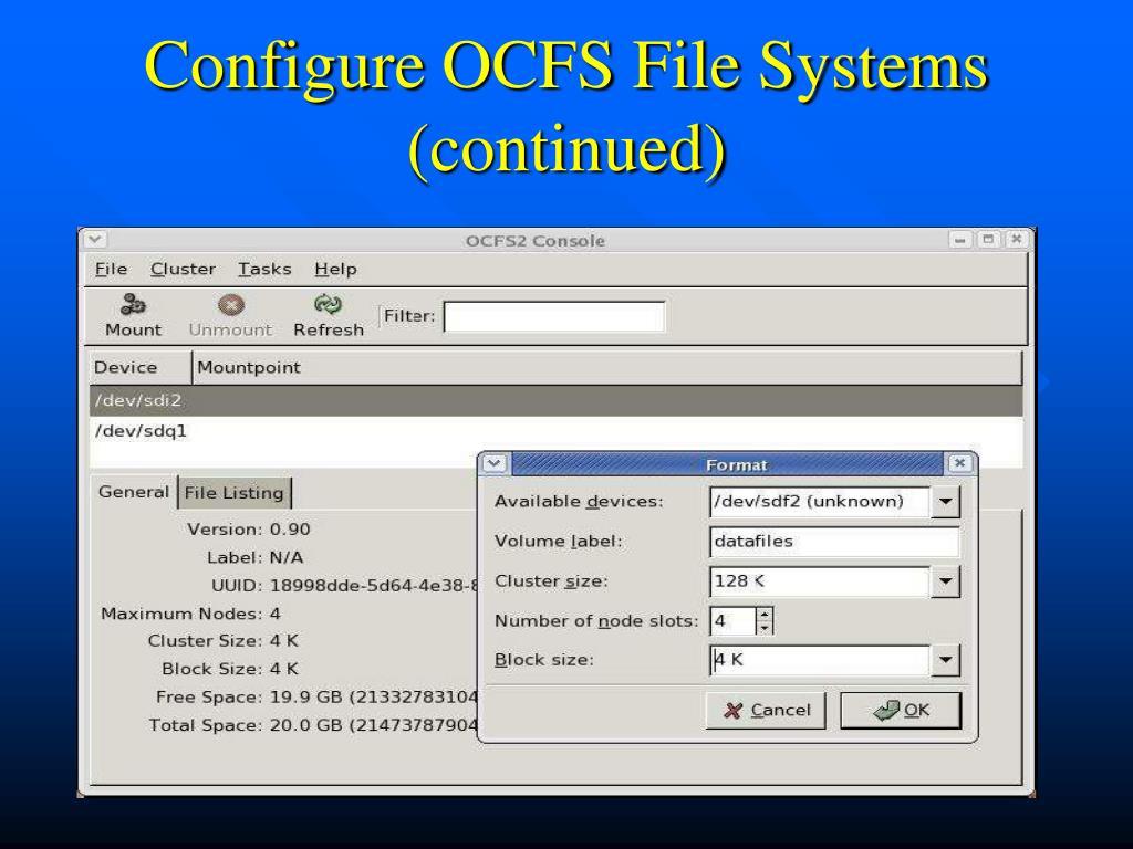 Configure OCFS File Systems (continued)