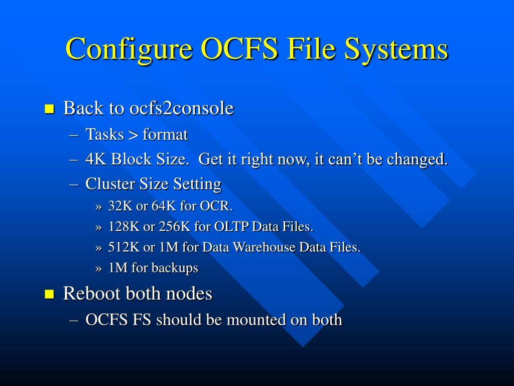 Configure OCFS File Systems